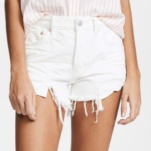 FREE PEOPLE Womens Shorts Distressed White Cutoff